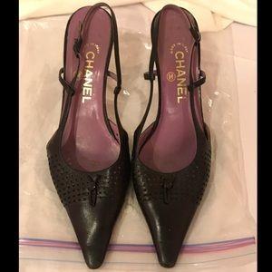 Chanel Black Leather 1 Inch Heels